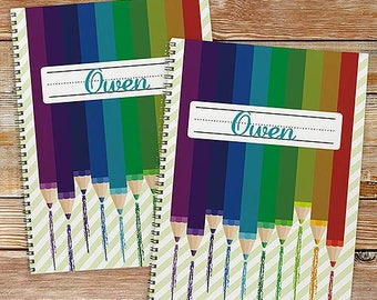 Personalized Colored Pencil Notebook Set Custom Name Gift