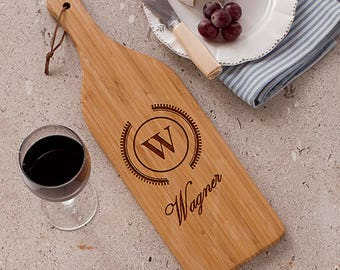 Personalized Engraved Initial Large Wine Bottle Cutting Board Custom Name Gift