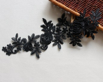 2 PCs Bridal Lace Applique Trim Appliques for Weddings,Headpieces,Sashes,Veils, LACE060