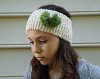 knit ear warmer with bow
