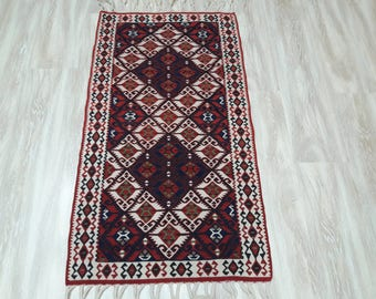 "Turkish Kilim Rug,2'×3'67""feet,63x112cm,Decorative Turkish Handwoven Tribal home Decor"