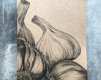A5 kraft notebook garlic pencil drawing