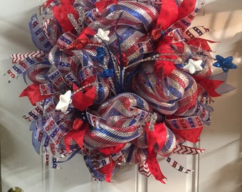 Patriotic Wreath, Memorial Day Wreath, 4th of July Wreath, Red, white and blue, Door Wreath, Home Decor