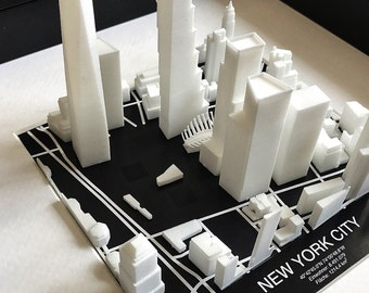 NEW YORK CITY, Manhattan - 3D image map - 25x25cm
