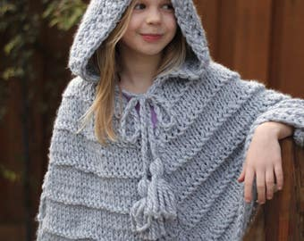 Chunky Knitted Gray Poncho, Girls Knit Poncho With Hood
