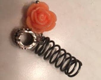Peach colored flower hair jewelry