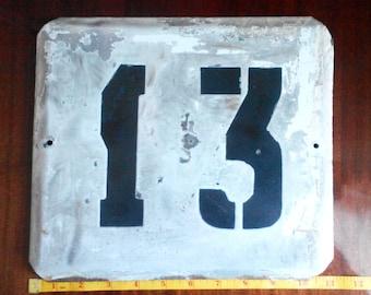 """Vintage Enameled metal House number """"13"""""""