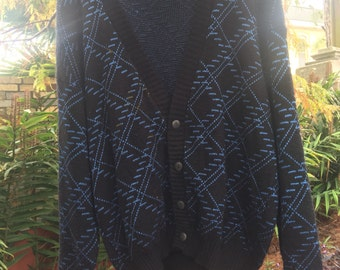 Patterned blue and black cardigan