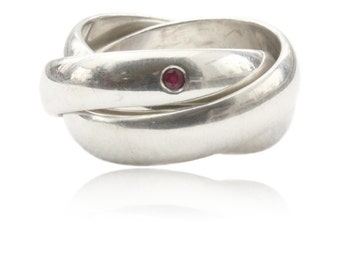 Silver ring with ruby, triple ring, wide ring, gifts for women, multiple ring, ring game, birthday