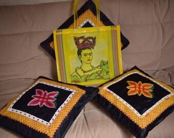 Frida kahlo bag , Bolsa de plástico frida, bolsa de mercado,