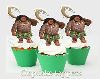 Maui Cupcake toppers, maui party, moana printables, Instant Download, You print, 50% OFF
