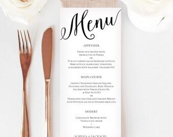 Wedding menu printable template, Menu template, Instant download, Editable PDF, DIY Menu, Party menu template,Dinner menu, Menu card