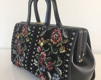 Vintage leather black synthetic and tapestry handbag