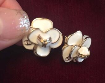 Vintage Chanel Chamelia Flower Earrings