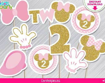 INSTANT DOWNLOAD Pink and Gold Minnie Mouse Centerpieces 2nd Birthday Print yourself, Pink and Gold Minnie Party Printables DIY