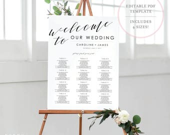 Wedding Seating Chart Template. Seating Chart Template. Wedding Seating Sign. Printable Seating Chart. Editable Seating Chart. Seating. (SH)