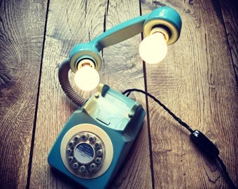 Pale Blue Retro Telephone Floating Light