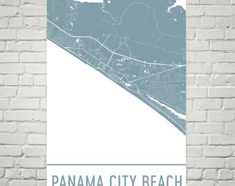 Panama City Beach Map, Panama City FL Art, Panama City Florida Print, Panama City Poster, Panama City Wall Art, Map of Panama City, Decor