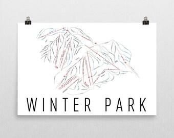 Winter Park Colorado Ski Map Art, Winter Park CO, Winter Park Trail Map, Colorado Art, Ski Gifts, Ski Decor, Colorado Map, Snowboard