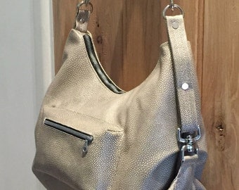 Slouchy Hobo Bag, Leather Shoulder Bag, Crossbody Bag, Guitar Strap, Stingray Embossed Italian Leather