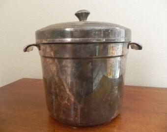 Vintage International Silver Lined Ice Bucket Heavy Patina