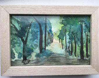 Framed aquarel 'Forest'