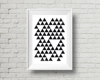 Geometric Triangle Art, Instant Download, Printable Wall Art, Black Triangles on White, Digital Print, Black and White Triangles, Art Print