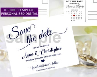 Navy blue Wedding Save the date,Wedding Save the Date printable,Navy Blue Save the Date,Wedding Save the Date,Modern Save the date,00cw