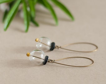 Pendant earrings made of vintage beads and handmade beads. Glass bubble earrings