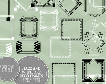 Black Art Deco Frames Black and White, 20 PNGs, Commercial Use, black gatsby borders frames, 20 digital frames, diy twenties scrapbooking