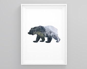 30% OFF SALE Bear Print, Wood Print, Pine Forest Print, Bear Art, Printable Bear, Digital Print, Printable Wall Art, BearPrint