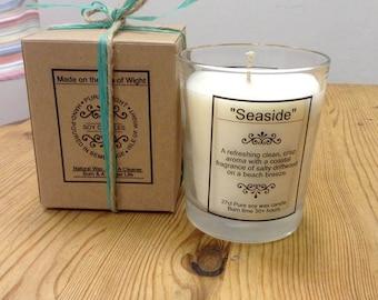 "Large ""Seaside"" aroma Soy Wax Candle."