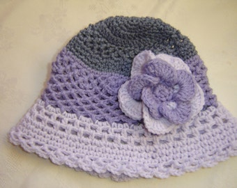 Crochet Girls Hat with Flower