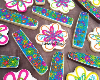 Bright Flowers Iced Sugar Cookies