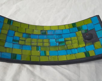Vintage Stained Glass Curved Rectangle Incense Holder