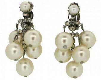 1960s Bridal Silver Tone Faux Pearl and Rhinestone Vintage Earrings