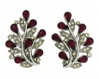 Trifari 1940s Ruby Rhinestone Floral Vintage Earrings