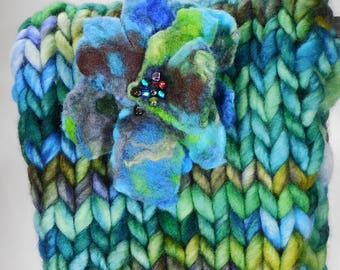 Merino wool Headband with matching felted and beaded flower