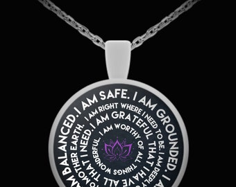 I Am - Mantra Round Pendant Necklace Key Ring Made In The USA 1 Inch Diameter