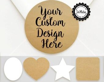 Your Custom Design Sticker Labels - Choice of Brown Kraft or Matte White Sticker Paper - Choice of Sticker Shape