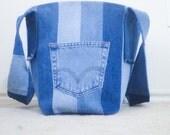 Multi Colored Blue Jean Denim Lined Tote