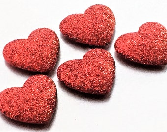 Red Glitter Heart Magnets in Decorative Tin   Set of 5   Super Strong   Fridge Magnets   Teacher Gift   Heart Magnets   Glitter Magnets