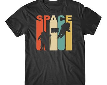 Vintage Retro 1970's Style Astronaut Silhouette Space Science T-Shirt