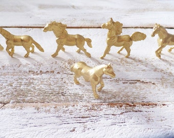 Gold Horse Birthday Party Favors ~ 10 Count ~ Craft Supply ~ Fairy Garden