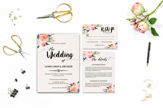 Flower wedding invite_5,Printable Wedding Invitation Suite,Wedding Invite Set,Wedding Printable,Calligraphy