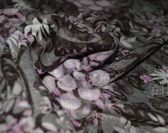 "1 yard Brown Lilac White Floral Burnout Jersey Knit fabric 58"" Wide"