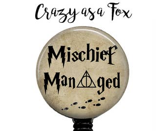 Mischief Managed Badge Reel, Retractable ID Badge Holder, Harry Potter Badge Reel, ID Badge Reel