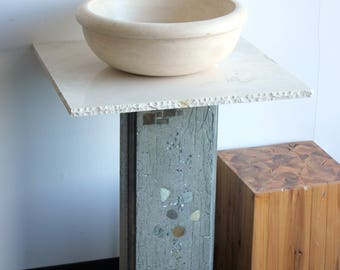Stone & Concrete Modern Vessel Bathroom Vanity and Sink pedestal SET with Faucet