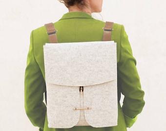 NEW - Felt Backpack with leather straps / 100% merino wool/ Felt Bag for woman/ Designer Felt Bag/ Laptop Felt Bag/Handmade