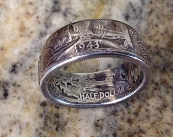 Liberty Half Dollar Silver Coin Ring